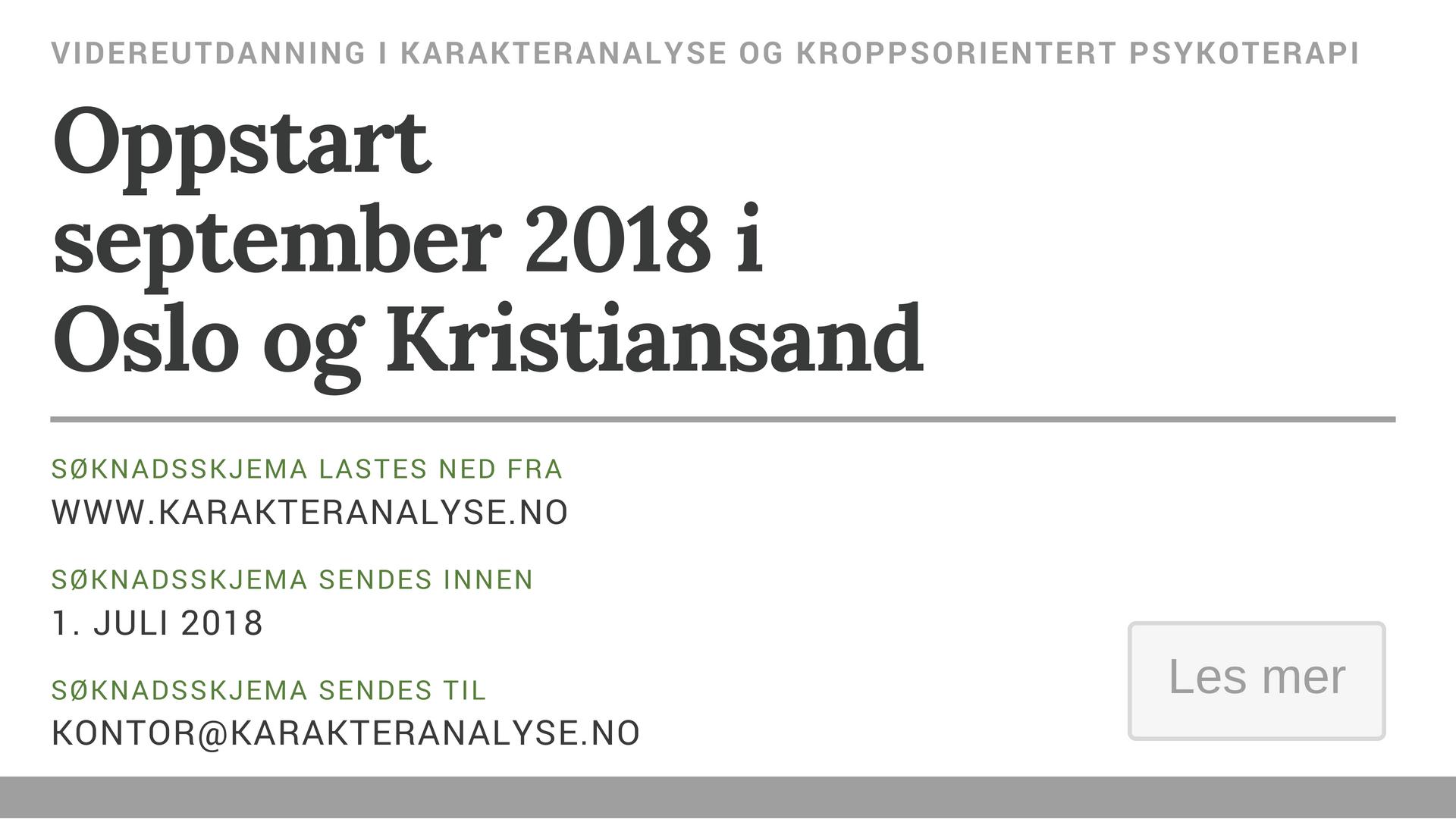 Oppstart av neste seminar - september 2018 i Oslo og Kristiansand