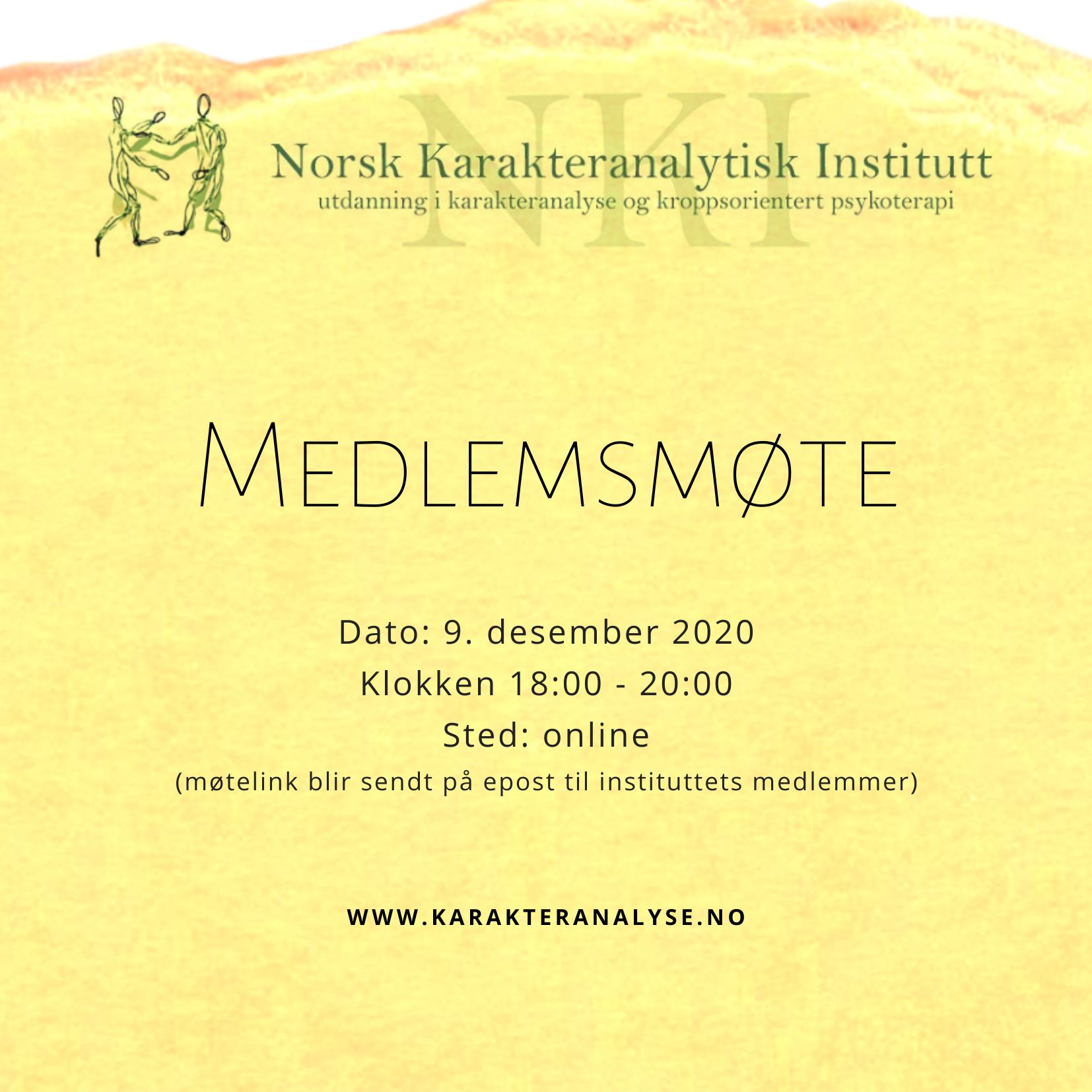 Medlemsmøte NKI 9.12.2020 kl 18:00